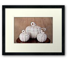 White Pumpkin Soup Bowl with Serving Bowls Framed Print