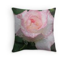 Rose in the rain Throw Pillow