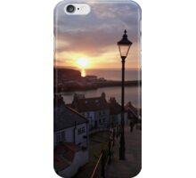 Whitby at sunset from the Abbey steps iPhone Case/Skin