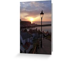 Whitby at sunset from the Abbey steps Greeting Card