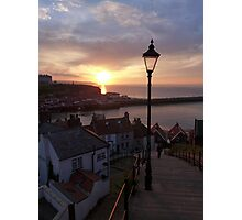 Whitby at sunset from the Abbey steps Photographic Print