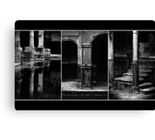 Roman Baths Triptych [black] Canvas Print