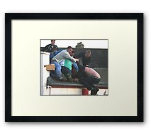 Rooftop action Framed Print
