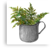 Mug with fern leaves Canvas Print