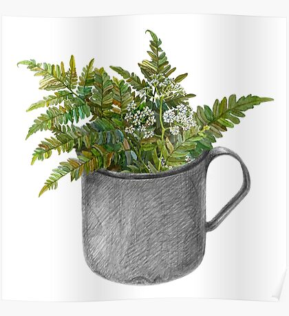 Mug with fern leaves Poster