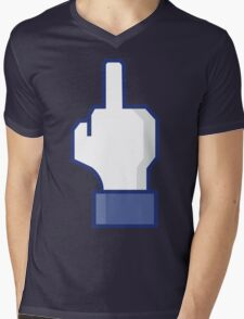 Middle Finger Emoji Tshirt | Facebook Dislike Emoticon T-Shirt | Mens and Womens Mens V-Neck T-Shirt