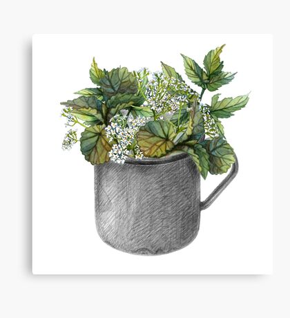 Mug with green forest growth Canvas Print