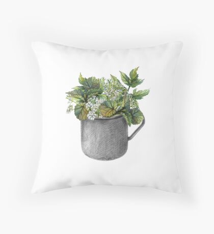 Mug with green forest growth Throw Pillow