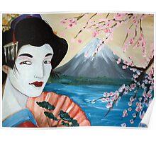 Cherry Blossom Geisha by Debbie Poster