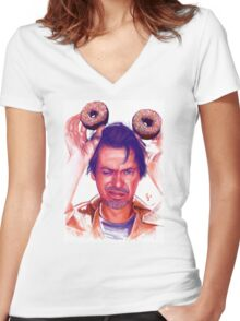 Steve Buscemi and donuts digital painting Women's Fitted V-Neck T-Shirt