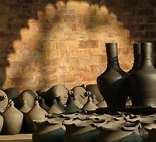 Clay Pots Drying In The Afternoon Sun by Jan Vinclair