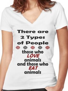 2 Types of People Women's Fitted V-Neck T-Shirt