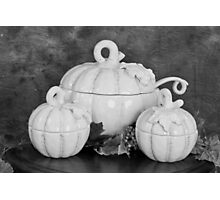 Pumpkins on the Table in Black and White Photographic Print