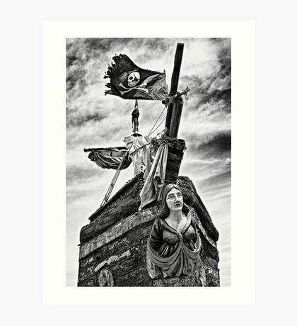 Pirate ship and black flag Art Print