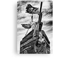 Pirate ship and black flag Canvas Print