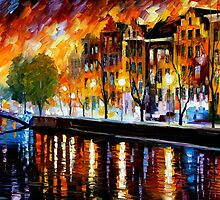 AMSTERDAM WINTER REFLECTION - LEONID AFREMOV by Leonid  Afremov