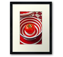 Tomato in red and white bowl Framed Print