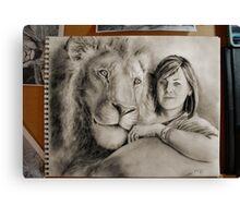 Rebecca's Lion, on the desk. Canvas Print