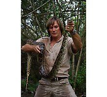 Austin Stevens with Burmese python Photographic Print