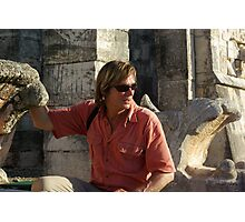Austin Stevens at Mayan temple Photographic Print