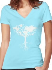Earth tree *pearl white Women's Fitted V-Neck T-Shirt