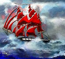 Clipper Ship Indian Queen in Rough Seas (2)  by Dennis Melling