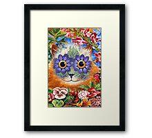 Vintage Wain Flower Cat Art Framed Print