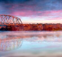 Misty Sunrise - Railway Bridge, Murray Bridge, South Australia by Mark Richards