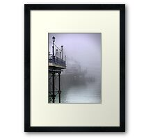 Pier----ing into the Mist Framed Print
