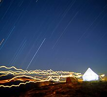 Torch trails and star trails, Nepal by Kevin McGennan
