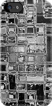 Glass Bricks With Shattered Ice Background - iPhone Case by Bryan Freeman