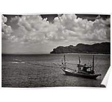 Monochrome Boat ~ Thailand Poster
