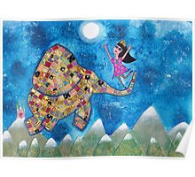 Missy and Elephant fly to the Moon Poster