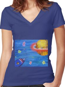 Space Rocket Planet Aliens and Stars Women's Fitted V-Neck T-Shirt