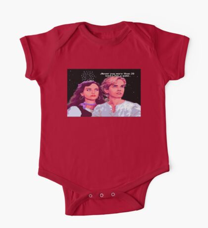 Guybrush and Elaine (final of Monkey Island 1) One Piece - Short Sleeve