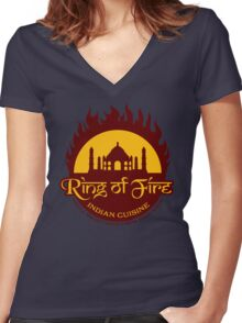 Ring of Fire Women's Fitted V-Neck T-Shirt