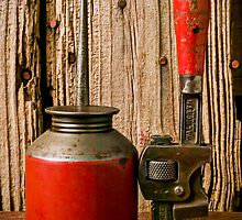 Old oil can and wrench by Garry Gay