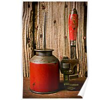 Old oil can and wrench Poster
