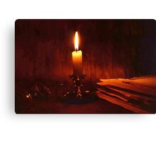Candle and old books Canvas Print