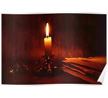 Candle and old books Poster