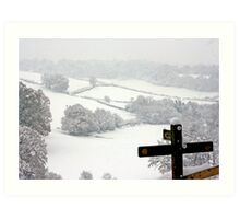 Snowy Fields, Petworth. Art Print