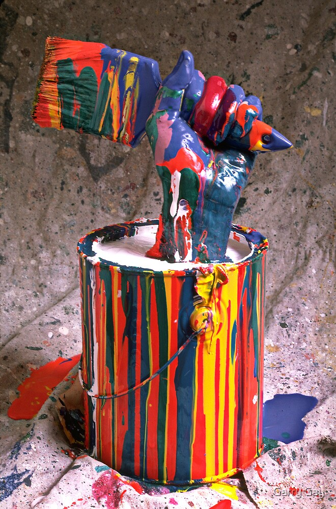 Hand coming out of paint can by Garry Gay