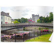 flower lined riverside railings view Poster