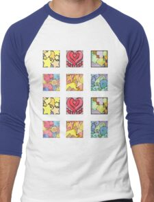 Mini Assorted Geometric Stickers Men's Baseball ¾ T-Shirt
