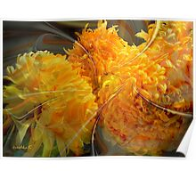 Dance of yellow chrysanthemums Poster