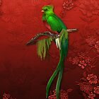 Exotic Quetzal Bird on Red Floral by SpiceTree