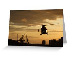 Sunset and helicopter on the River Clyde Greeting Card