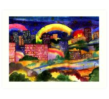 Rainbaw in the city Art Print
