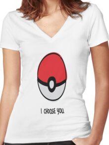 Pokéball - I Choose You Women's Fitted V-Neck T-Shirt