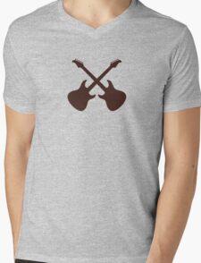 Crossed Guitars Mens V-Neck T-Shirt